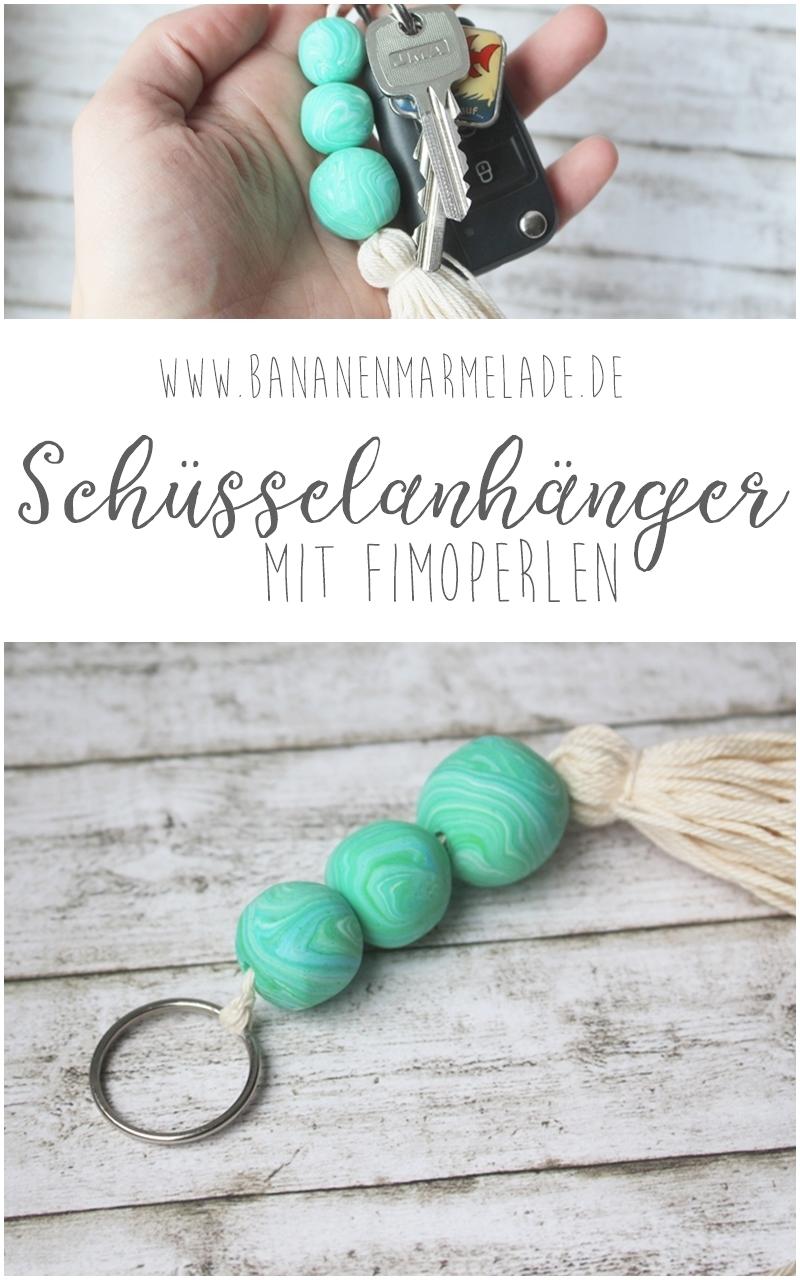 Diy Schusselanhanger Mit Fimoperlen Bananenmarmeladebananenmarmelade