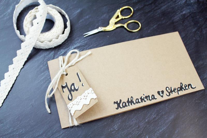 Diy Rustikale Hochzeitseinladungen Aus Kraftpapier